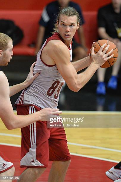 Lou Amundson of the Cleveland Cavaliers handles the basketball during practice at Flamengo Club Borges de Medeiros as a part of NBA Global Games on...