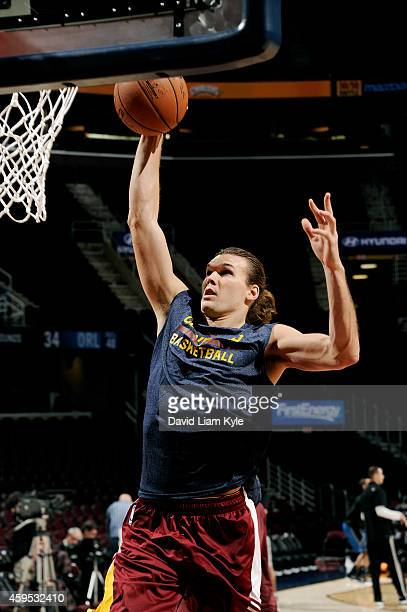 Lou Amundson of the Cleveland Cavaliers warms up before a game against the Orlando Magic at The Quicken Loans Arena on November 24 2014 in Cleveland...