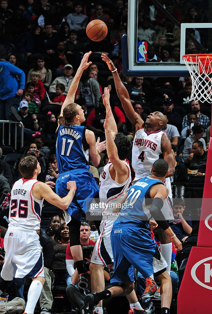 Lou Amundson #17 of the Minnesota Timberwolves puts up a shot against the Atlanta Hawks on January 21, 2013 at Philips Arena in Atlanta, Georgia.
