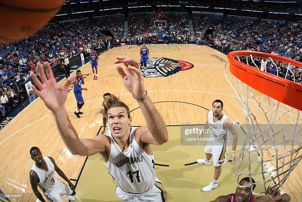 Lou Amundson #17 of the New Orleans Pelicans grabs a rebound against the Philadelphia 76ers on November 16, 2013 at the New Orleans Arena in New Orleans, Louisiana.