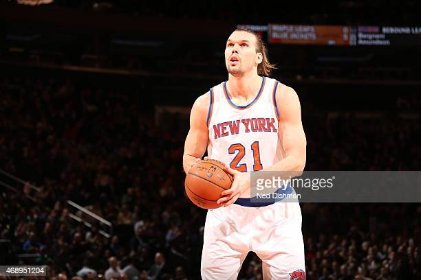 Lou Amundson of the New York Knicks prepares to shoot a free throw against the Indiana Pacers on April 8 2015 at Madison Square Garden in New York...