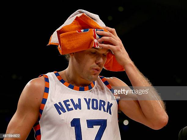 Lou Amundson of the New York Knicks walks off the court after a flagrant foul by Marvin Williams of the Charlotte Hornets at Madison Square Garden on...