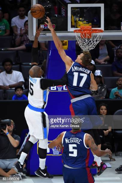 Lou Amundson of the TriState blocks a shot by Cuttino Mobley of the Power during week eight of the BIG3 three on three basketball league at Staples...