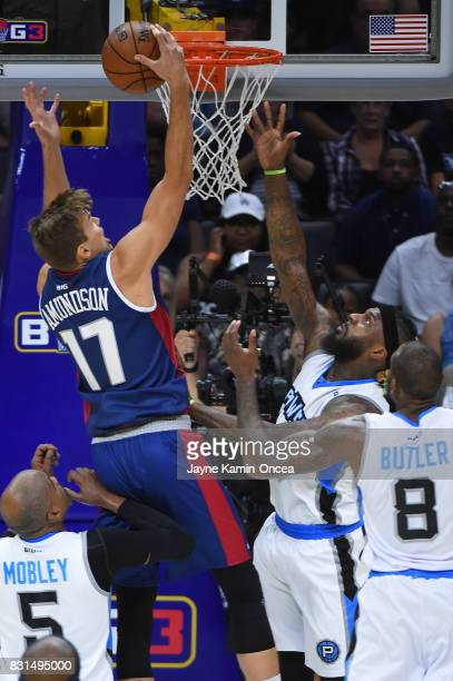 Lou Amundson of the TriState lays up the ball against the Power during week eight of the BIG3 three on three basketball league at Staples Center on...