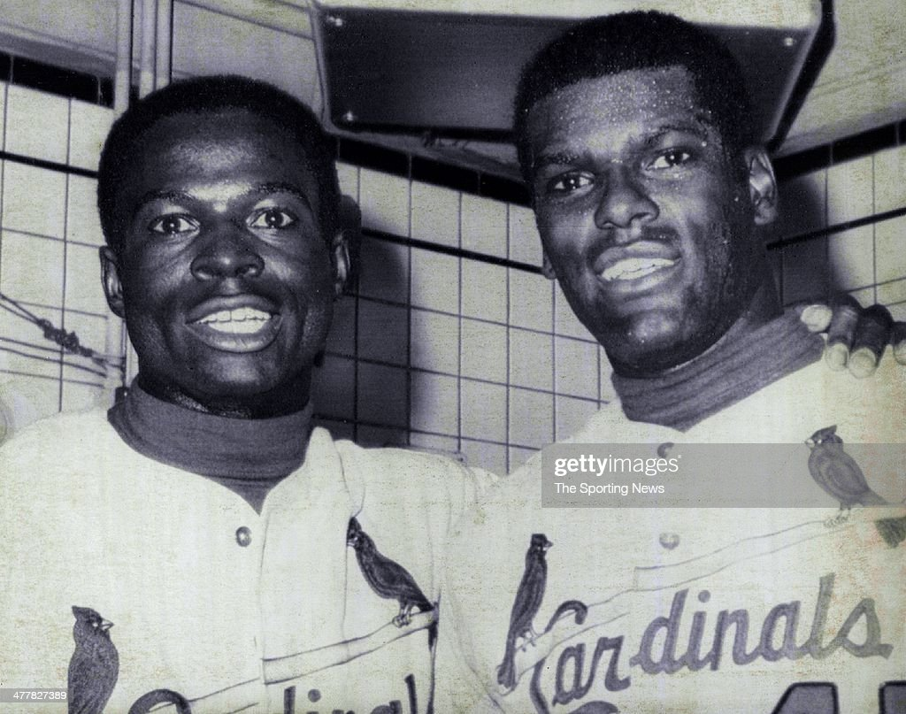 <a gi-track='captionPersonalityLinkClicked' href=/galleries/search?phrase=Lou+Brock&family=editorial&specificpeople=207012 ng-click='$event.stopPropagation()'>Lou Brock</a> and <a gi-track='captionPersonalityLinkClicked' href=/galleries/search?phrase=Bob+Gibson&family=editorial&specificpeople=215334 ng-click='$event.stopPropagation()'>Bob Gibson</a> of the St. Louis Cardinals all smiles in locker room after defeating the Detroit Tigers 10-1 to win Game Four of 1968 World Series at Tiger stadium in Detroit, Michigan. It was Gibson's seventh straight World Series victory. Brock hit a home run, tied his own record with a seventh stolen base, and also contributed a double and a triple.
