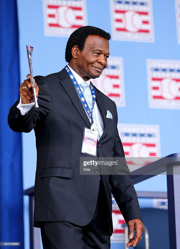 <a gi-track='captionPersonalityLinkClicked' href=/galleries/search?phrase=Lou+Brock&family=editorial&specificpeople=207012 ng-click='$event.stopPropagation()'>Lou Brock</a> attends the Hall of Fame Induction Ceremony at National Baseball Hall of Fame on July 26, 2015 in Cooperstown, New York. Craig Biggio,Pedro Martinez,Randy Johnson and John Smoltz were inducted in this year's class.