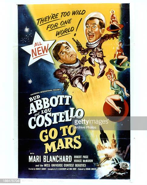Lou Costello and Bud Abbott in movie art for the film 'Abbott And Costello Go To Mars' 1953