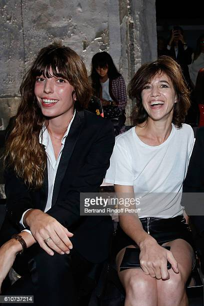Lou Doillon and her sister Charlotte Gainsbourg attend the Saint Laurent show as part of the Paris Fashion Week Womenswear Spring/Summer 2017 on...