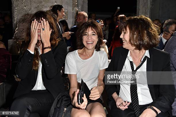 Lou Doillon Charlotte Gainsbourg and Jane Birkin attend the Saint Laurent show as part of the Paris Fashion Week Womenswear Spring/Summer 2017 on...