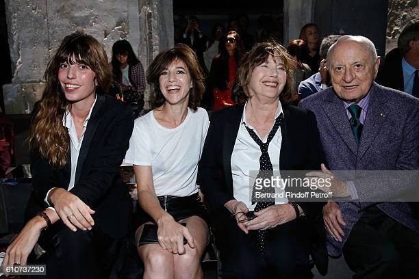 Lou Doillon her sister Charlotte Gainsbourg their mother Jane Birkin and Pierre Berge attend the Saint Laurent show as part of the Paris Fashion Week...