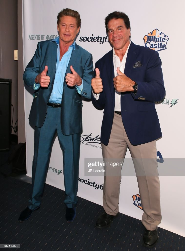 Lou Ferrigno and David Hasselhoff attend the 'Extraordinary: Stan Lee' on August 22, 2017 in Los Angeles, California.
