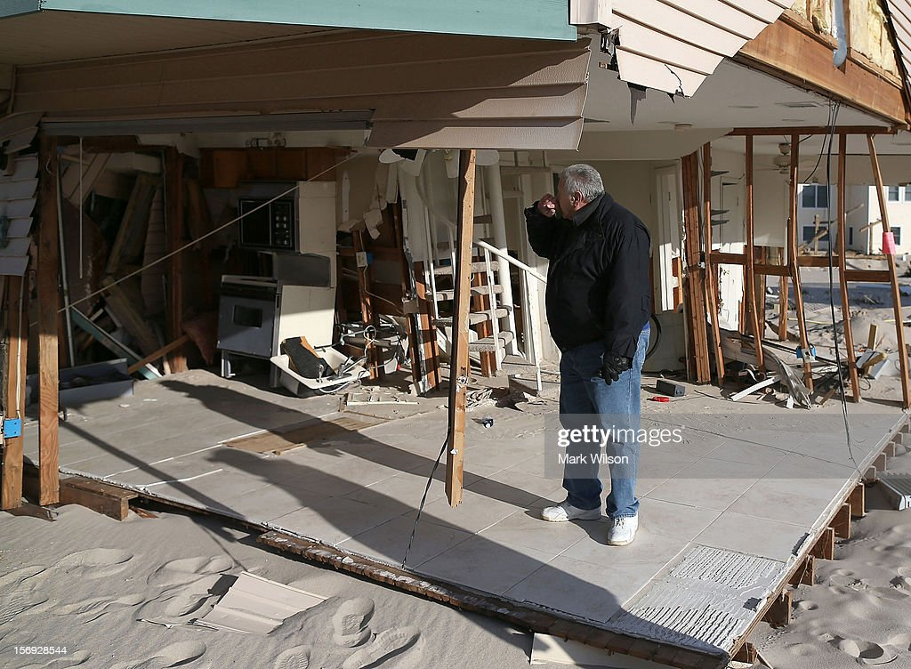 Lou Friedella is devastated by the damage to his beach house caused by Superstorm Sandy on November 25, 2012 in Ortley Beach, New Jersey. The Friedella's owned their beach house for thirty one years before Superstorm Sandy moved it off its foundation and partially demolished it.