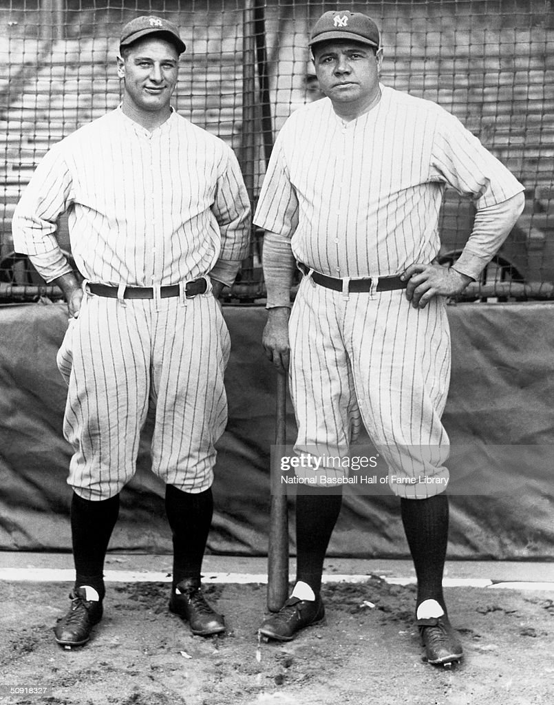 <a gi-track='captionPersonalityLinkClicked' href=/galleries/search?phrase=Lou+Gehrig&family=editorial&specificpeople=93714 ng-click='$event.stopPropagation()'>Lou Gehrig</a> #4 and <a gi-track='captionPersonalityLinkClicked' href=/galleries/search?phrase=Babe+Ruth&family=editorial&specificpeople=94423 ng-click='$event.stopPropagation()'>Babe Ruth</a> of the New York Yankees pose for a photo circa 1923-1939. <a gi-track='captionPersonalityLinkClicked' href=/galleries/search?phrase=Lou+Gehrig&family=editorial&specificpeople=93714 ng-click='$event.stopPropagation()'>Lou Gehrig</a> (b. 1903 d. 1941) played for the Yankees from 1923-1939. George Herman 'Babe' Ruth (b. 1895 d. 1948) played for the Yankees from 1920-1934.