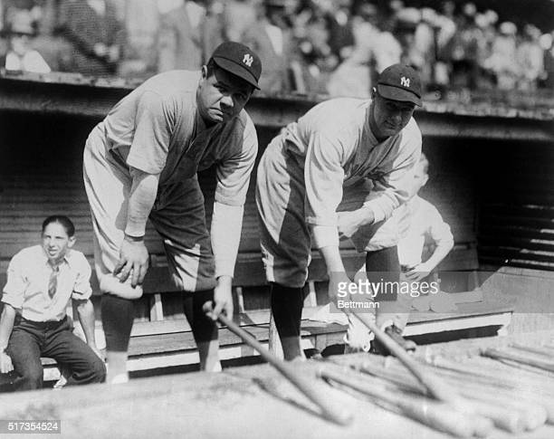 Lou Gehrig and Babe Ruth select bats before the first game of the 1927 World Series against the Pittsburgh Pirates