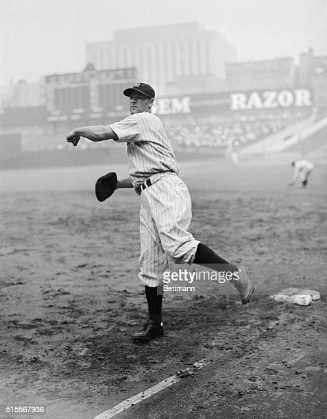 Lou Gehrig hard hitting first baseman for the New York Yankees is shown here whose batting prowess will aid the American Leaguers in the World Series
