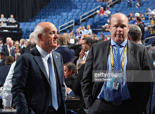 Lou Lamoriello and Mark Hunter of the Toronto Maple Leafs attend of the 2016 NHL Draft on June 24 2016 in Buffalo New York