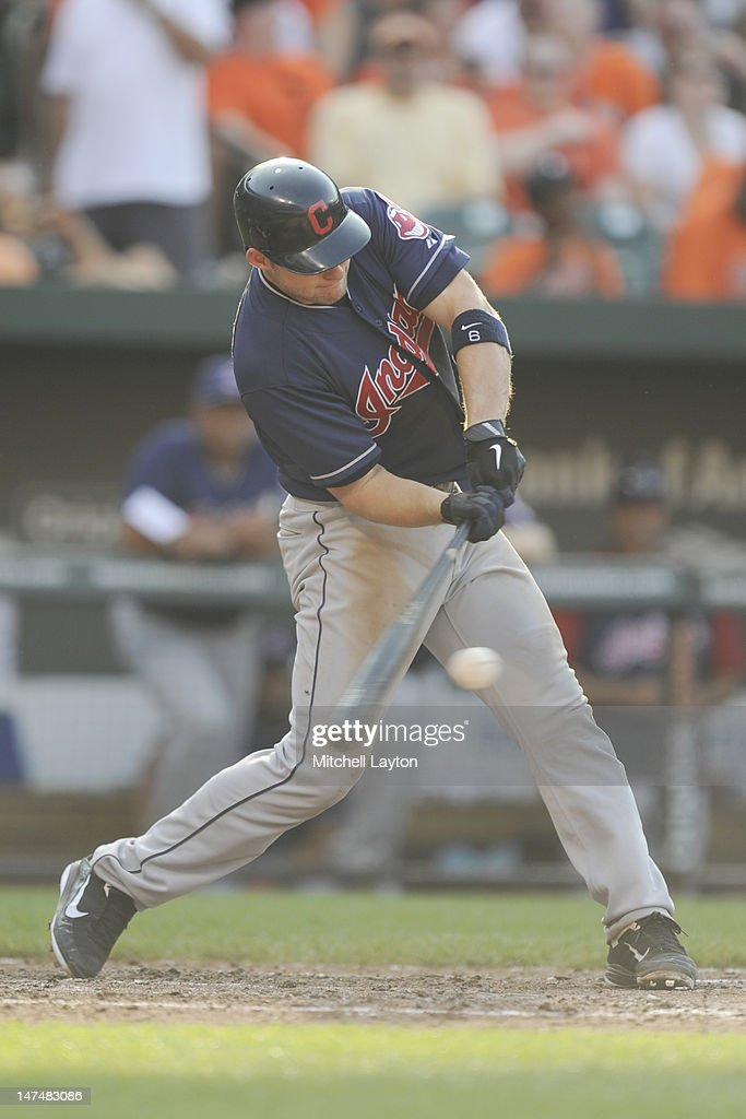 <a gi-track='captionPersonalityLinkClicked' href=/galleries/search?phrase=Lou+Marson&family=editorial&specificpeople=4175358 ng-click='$event.stopPropagation()'>Lou Marson</a> #6 of the Cleveland Indians gets his third of five hits on day during a baseball game against the Baltimore Orioles at Oriole Park at Camden Yards on June 30, 2012 in Baltimore, Maryland.