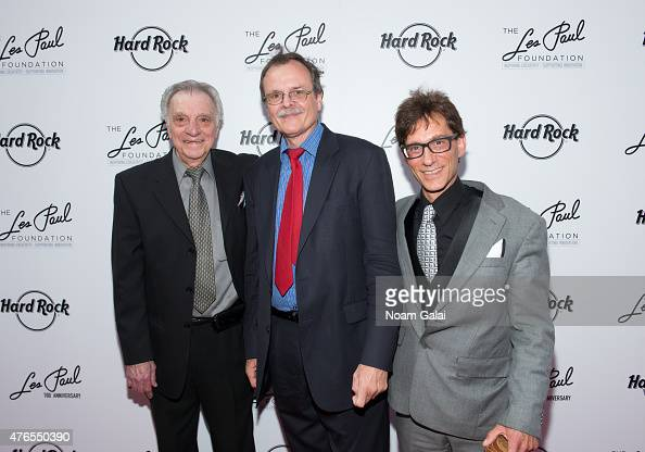Lou Pallo Gary Mazzarati and Frank Vignola attend Les Paul's 100th anniversary celebration at Hard Rock Cafe Times Square on June 9 2015 in New York...