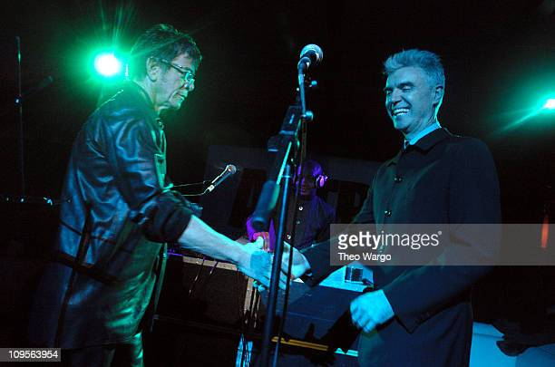 Lou Reed and David Byrne during Artists For Tsunami Relief at Marquee in New York City New York United States