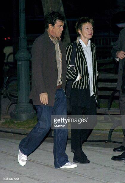 Lou Reed and Laurie Anderson during 3rd Annual Tribeca Film Festival Vanity Fair Party Arrivals at Amex Lobby in New York City New York United States