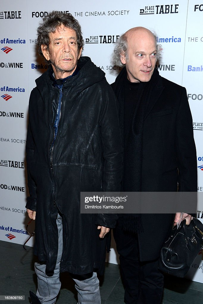 <a gi-track='captionPersonalityLinkClicked' href=/galleries/search?phrase=Lou+Reed&family=editorial&specificpeople=206117 ng-click='$event.stopPropagation()'>Lou Reed</a> and <a gi-track='captionPersonalityLinkClicked' href=/galleries/search?phrase=Timothy+Greenfield-Sanders&family=editorial&specificpeople=1515513 ng-click='$event.stopPropagation()'>Timothy Greenfield-Sanders</a> attend the Bank of America and Food & Wine with The Cinema Society screening of 'A Place at the Table' at Museum of Modern Art on February 27, 2013 in New York City.