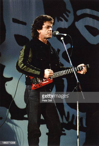 Lou Reed performs on stage at the Nelson Mandela Freedom Concert at Wembley Stadium on April 16th 1990 in London England