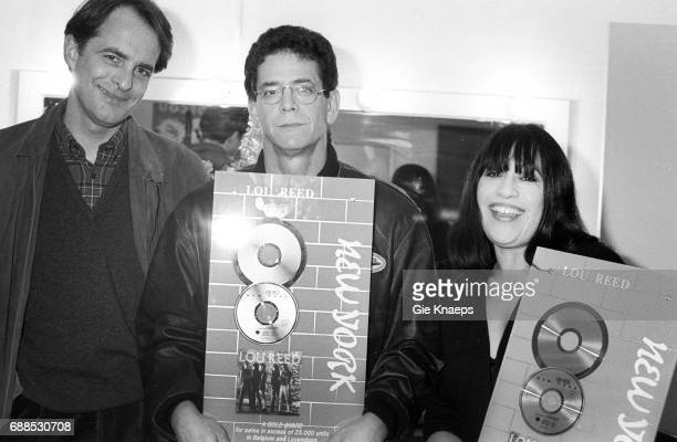 Lou Reed with wife Sylvia Morales and Warner Belgium CEO Ted Sikkink Lou Reed Koninklijk Circus Brussels Belgium 03/1992