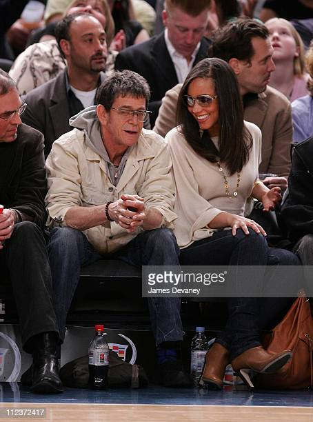Lou Reeda and Alicia Keys during Celebrities Attend Minnesota Timberwolves vs New York Knicks Game April 6 2007 at Madison Square Garden in New York...
