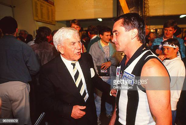 Lou Richards and Tony Shaw of the Magpies chat after the 1990 AFL Grand Final match between the Collingwood Magpies and the Essendon Bombers at the...