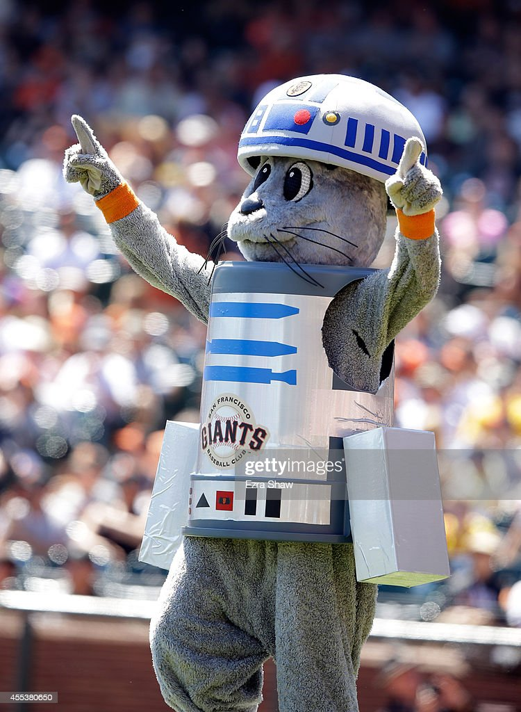 Lou Seal dresses up as R2-D2 before the San Francisco Giants game against the Milwaukee Brewers at AT&T Park on August 31, 2014 in San Francisco, California.