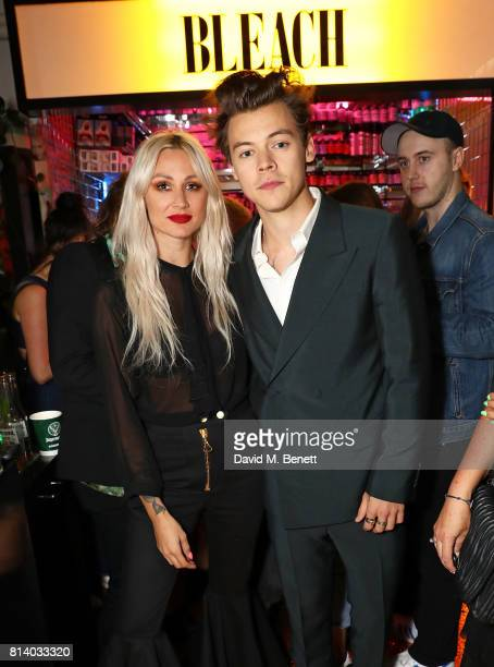 Lou Teasdale and Harry Styles attend the launch of Bleach London's new makeup and hair collections on July 13 2017 in London England