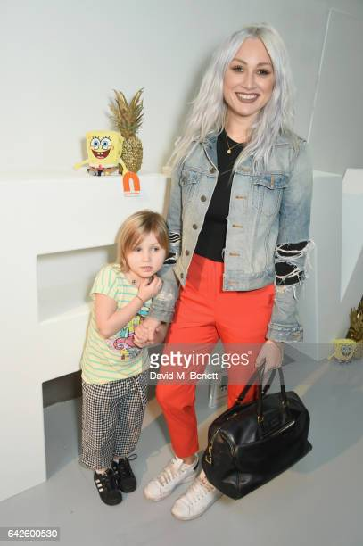 Lou Teasdale and Lux attend Nickelodeon's SpongeBob Gold launch party at LFW in collaboration with the LFW Design collective Pete Jenson Bobby Abley...