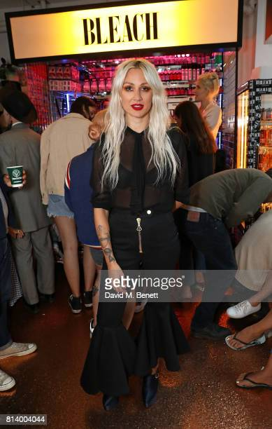Lou Teasdale attends the launch of Bleach London's new makeup and hair collections on July 13 2017 in London England