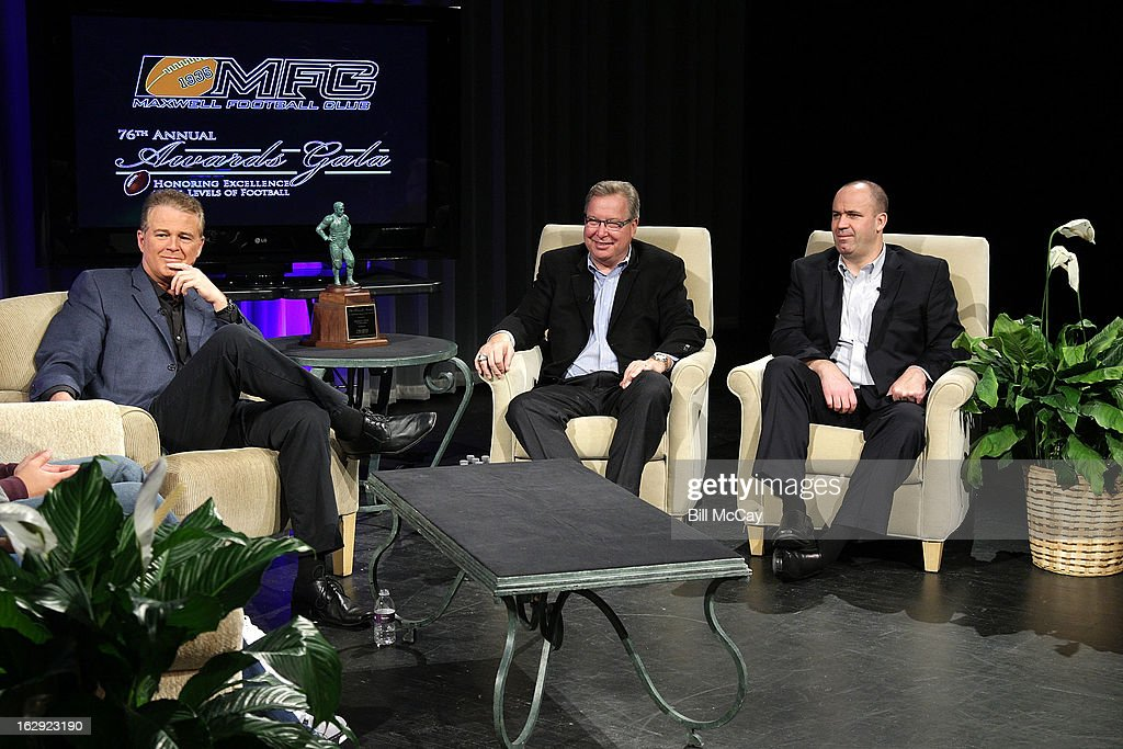 Lou Tilley, Ron Jaworski and Bill O'Brien attend the Stars of Maxwell Football Club Discussion Table on March 1, 2013 in Atlantic City, New Jersey.