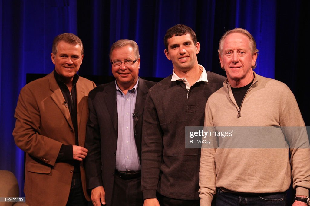 Lou Tilley, Ron Jaworski, Andrew Luck and Archie Manning attend the filming of 'Stars of Maxwell Football Club Discussion Table' at Harrah's Resort March 2, 2012 in Atlantic City, New Jersey.