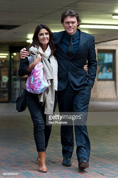 Lou Vincent departs Southwark Crown Court with Susie Vincent after giving evidence in the trial of New Zealand cricketer Chris Cairns on October 14...