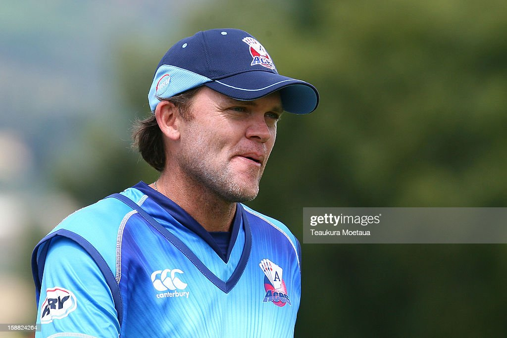 Lou Vincent of Auckland looks on during the Twenty20 match between Otago and Auckland at Queenstown Events Centre on December 31 2012 in Queenstown...