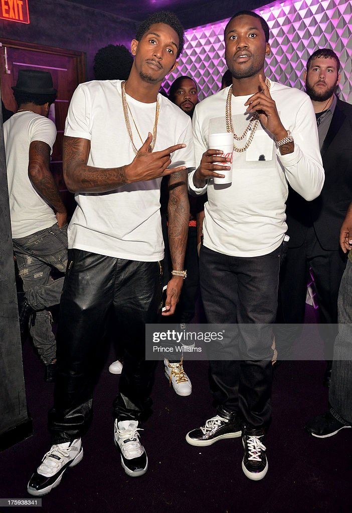 Lou Williams and <a gi-track='captionPersonalityLinkClicked' href=/galleries/search?phrase=Meek+Mill&family=editorial&specificpeople=7187702 ng-click='$event.stopPropagation()'>Meek Mill</a> host party at Prive on August 9, 2013 in Atlanta, Georgia.