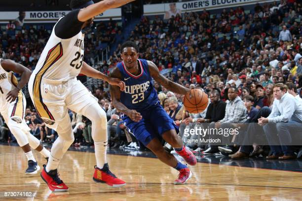 Lou Williams of the LA Clippers handles the ball against the New Orleans Pelicans on November 11 2017 at Smoothie King Center in New Orleans...