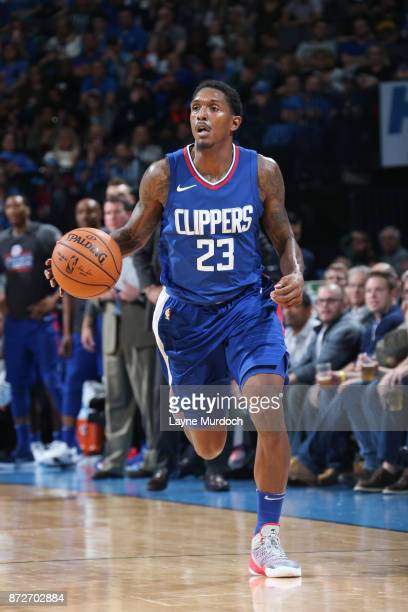 Lou Williams of the LA Clippers handles the ball against the Oklahoma City Thunder on November 10 2017 at Chesapeake Energy Arena in Oklahoma City...
