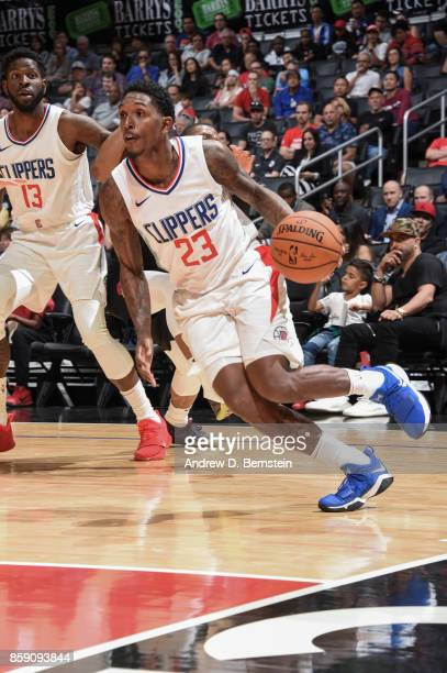 Lou Williams of the LA Clippers handles the ball during the 2017 NBA PreSeason game against the LA Clippers on October 8 2017 at STAPLES Center in...