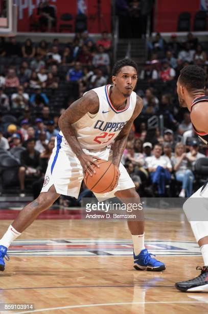 Lou Williams of the LA Clippers handles the ball during the 2017 NBA PreSeason game against the Portland Trail Blazers on October 8 2017 at STAPLES...