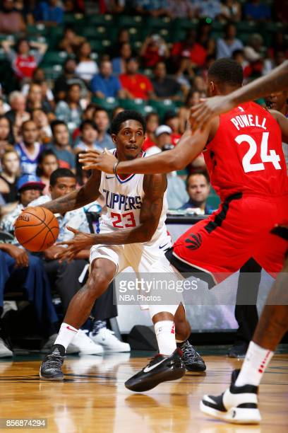 Lou Williams of the LA Clippers handles the ball during the preseason game against the Toronto Raptors on October 1 2017 at the Stan Sheriff Center...