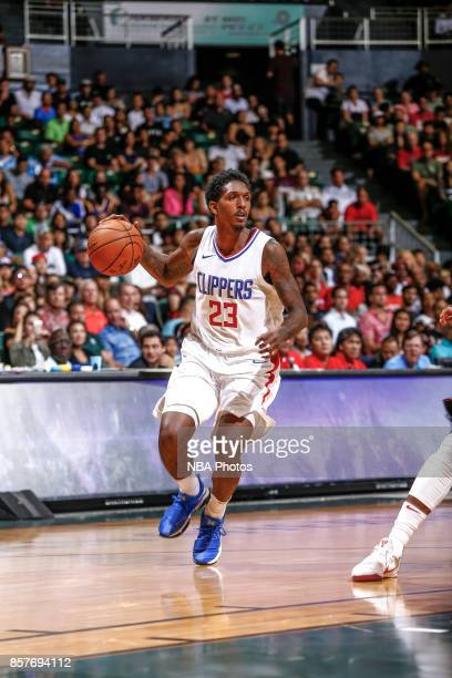 Lou Williams of the LA Clippers handles the ball during the preseason game against the Toronto Raptors on October 4 2017 at the Stan Sheriff Center...