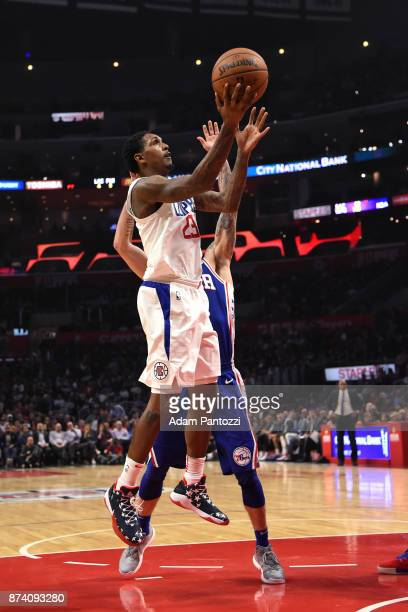 Lou Williams of the LA Clippers shoots the ball against the Philadelphia 76ers on November 13 2017 at STAPLES Center in Los Angeles California NOTE...