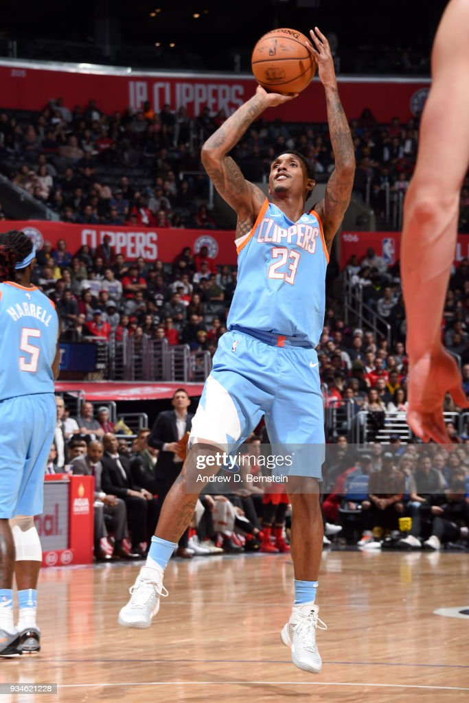 Lou Williams #23 of the LA Clippers shoots the ball against the Portland Trail Blazers on March 18, 2018 at STAPLES Center in Los Angeles, California.