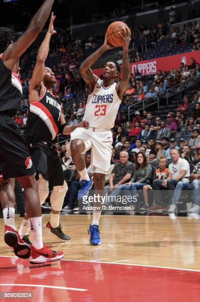Lou Williams of the LA Clippers shoots the ball during the 2017 NBA PreSeason game against the LA Clippers on October 8 2017 at STAPLES Center in Los...