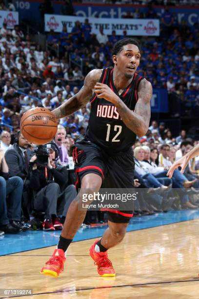 Lou Williams of the Houston Rockets drives to the basket during the game against the Oklahoma City Thunder during the Western Conference...