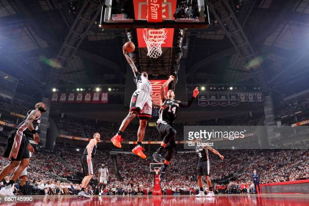Lou Williams of the Houston Rockets dunks against the San Antonio Spurs in Game Four of the Western Conference Semifinals of the 2017 NBA Playoffs on...