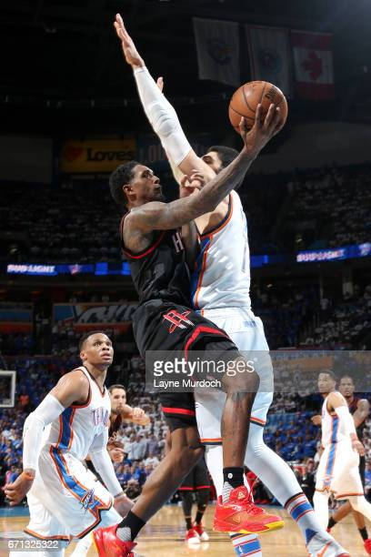 Lou Williams of the Houston Rockets goes for a lay up during the game against the Oklahoma City Thunder during the Western Conference Quarterfinals...